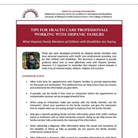 Tips for Health Care Professionals Working with Hispanic Families